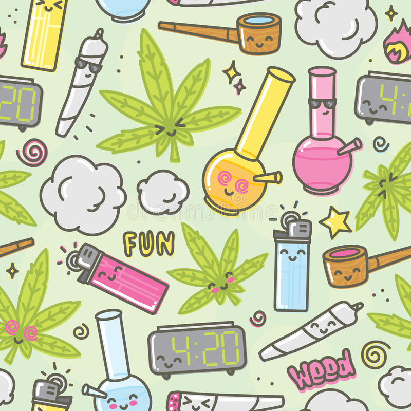 Free Marijuana Kawaii Cartoon Seamless Vector Background Royalty Free Stock Images - 71008139