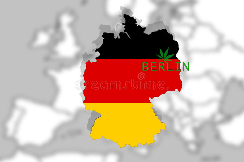 Marijuana lagalized in Berlin, Germany on Europe background and THC leaf vector illustration