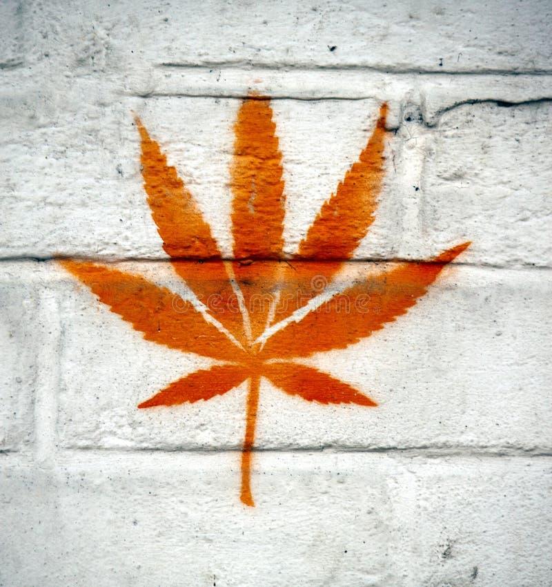 Marijuana leaf. Painted on a white wall royalty free stock photo