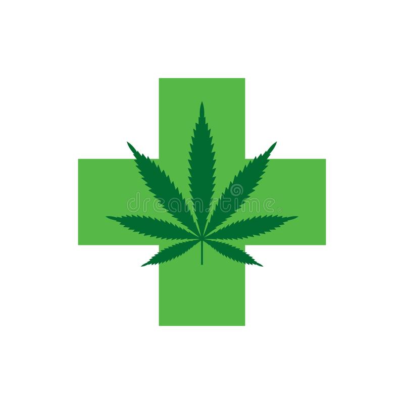 Marijuana leaf with Green Cross. Medical Cannabis. Icon Logo Template. Health and Medical therapy. Isolated vector illustration on white background royalty free illustration