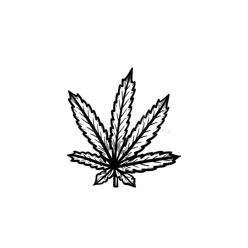 Marijuana leaf hand drawn sketch icon. stock illustration