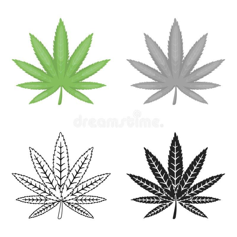 marijuana leaf icon in cartoon style isolated on white background