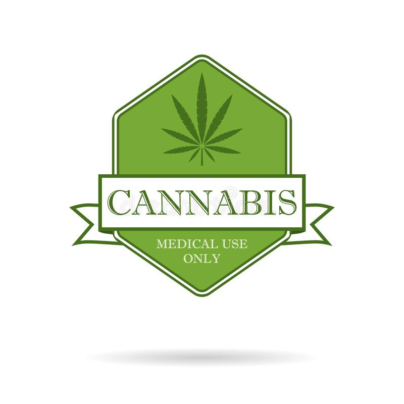 Marijuana leaf. Medical cannabis. Hemp oil. Cannabis extract. Icon product label and logo graphic template. Isolated. Vector illustration stock illustration