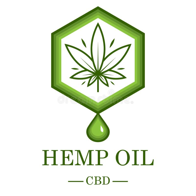 Marijuana leaf. Medical cannabis. Hemp oil. Cannabis extract. Icon product label and logo graphic template. Isolated. Vector illustration royalty free illustration