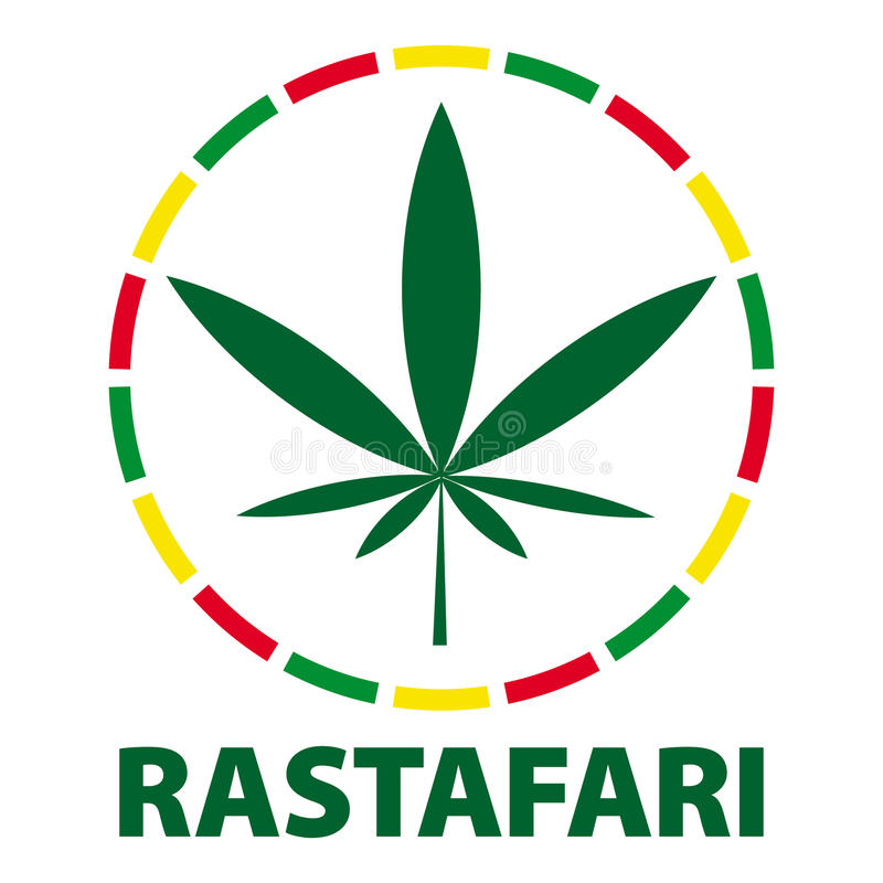 Marijuana leaf in rastafari colours, illustration stock illustration