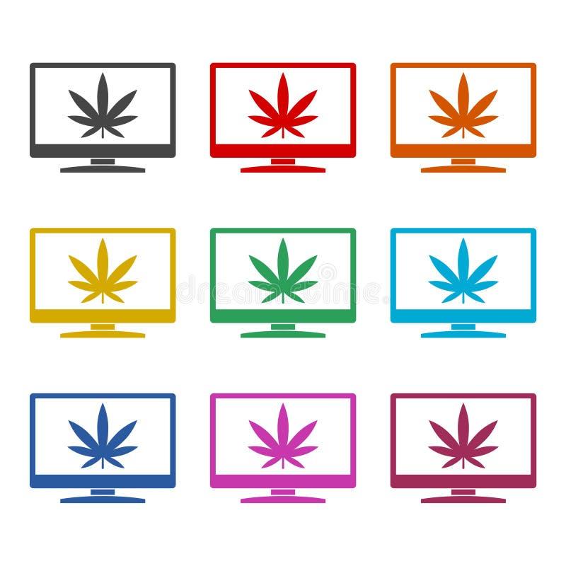 Marijuana leaf on TV icon, color icons set. Simple vector icon vector illustration