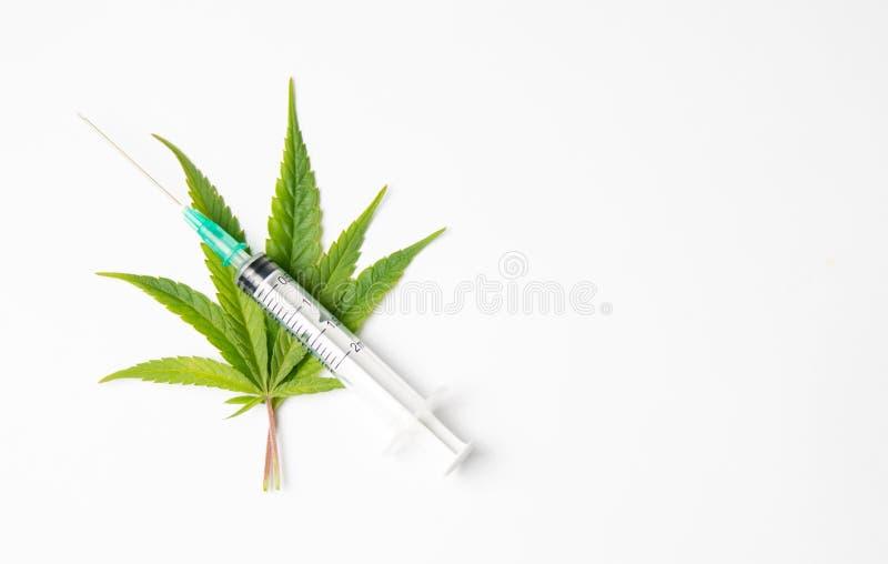 Marijuana leaves and syringe on white stock photo
