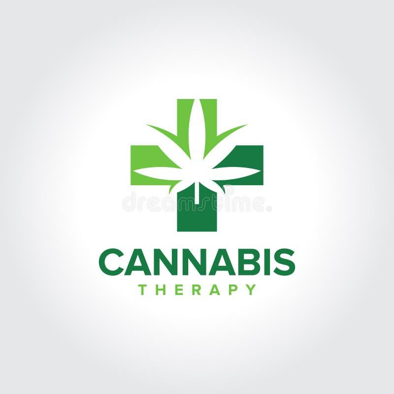 Marijuana, logotipo médico de la terapia del cáñamo fotos de archivo