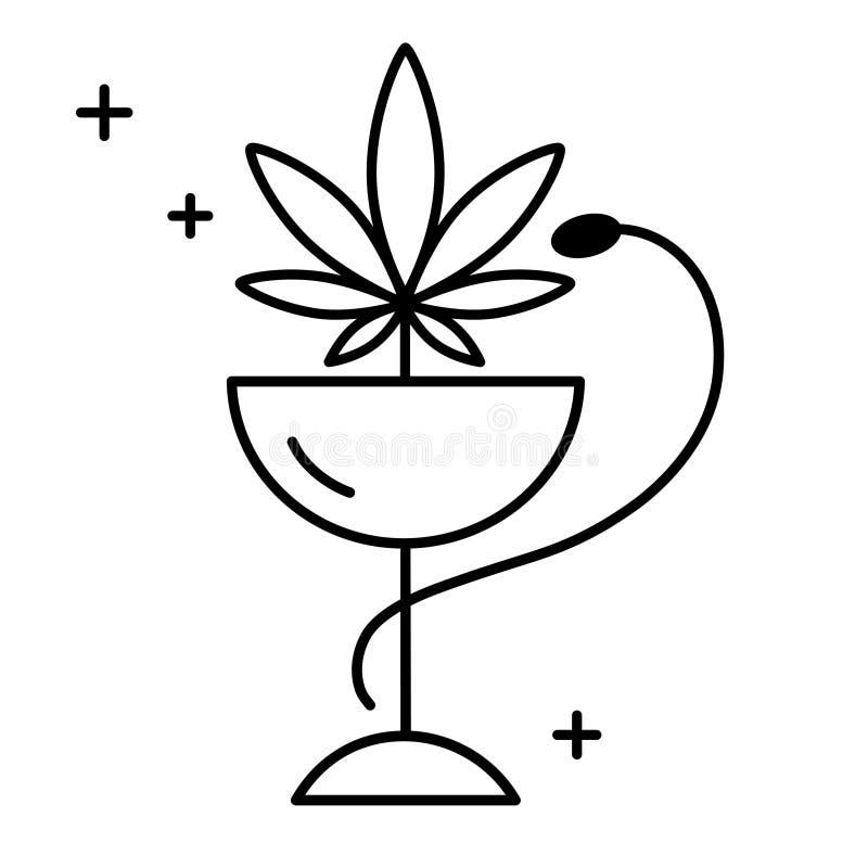Marijuana médica con una serpiente verde stock de ilustración