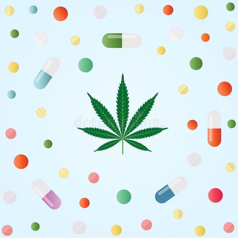 Marijuana médica Hoja del cáñamo y píldoras médicas coloridas libre illustration