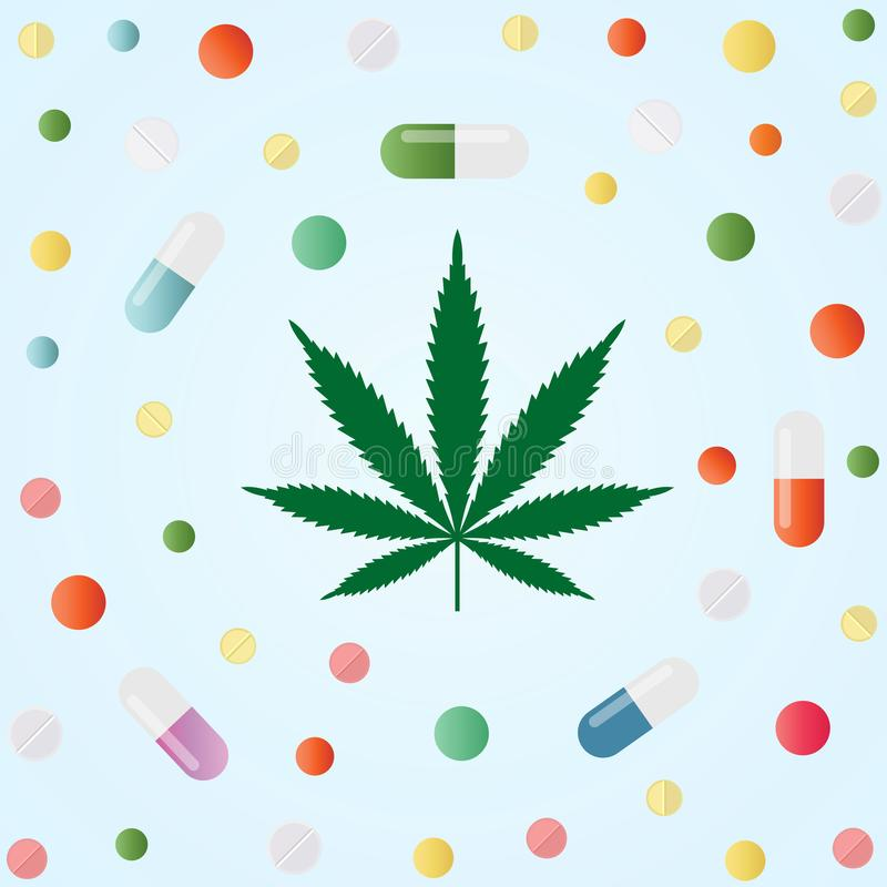 Marijuana médica Hoja del cáñamo y píldoras médicas coloridas ilustración del vector