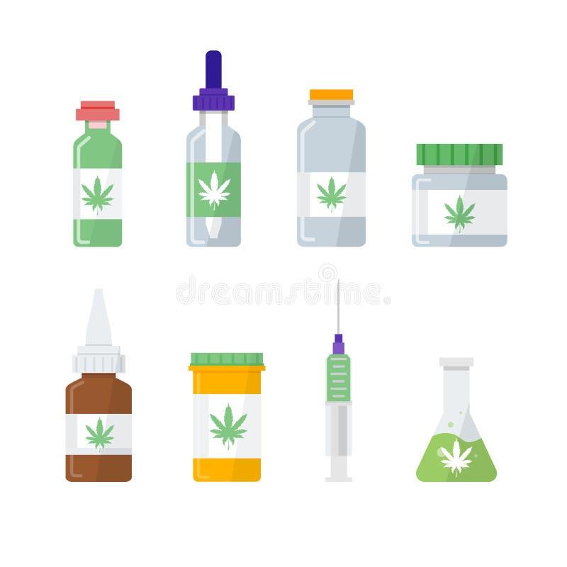 Marijuana médica, iconos del cáñamo de la farmacia fijados stock de ilustración