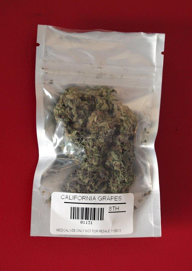 Marijuana médicale de raisins de la Californie dans le sac médical image libre de droits
