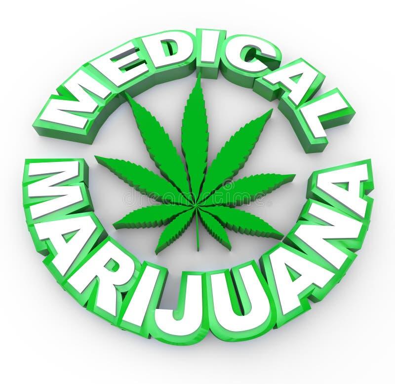 Marijuana medica - parole ed icona del foglio royalty illustrazione gratis