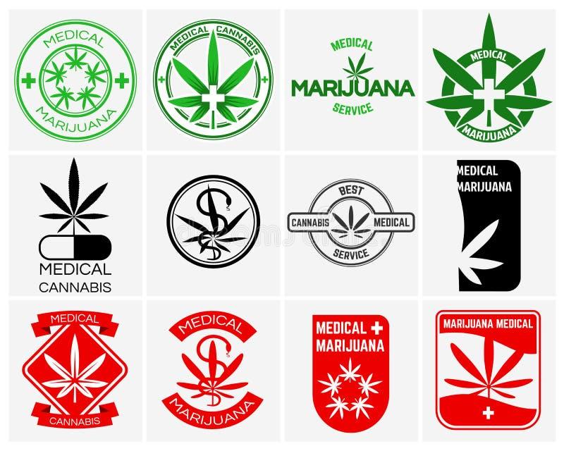 A marijuana ou os cannabis médicos vector os logotipos, as etiquetas e os emblemas ajustados ilustração do vetor