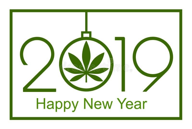 Marijuana par nouvelle année, 2019 illustration libre de droits