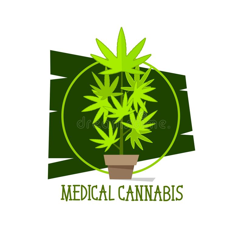 Marijuana plant vector green line symbols on white background for commercial business medical cannabis. Health services website vector illustration