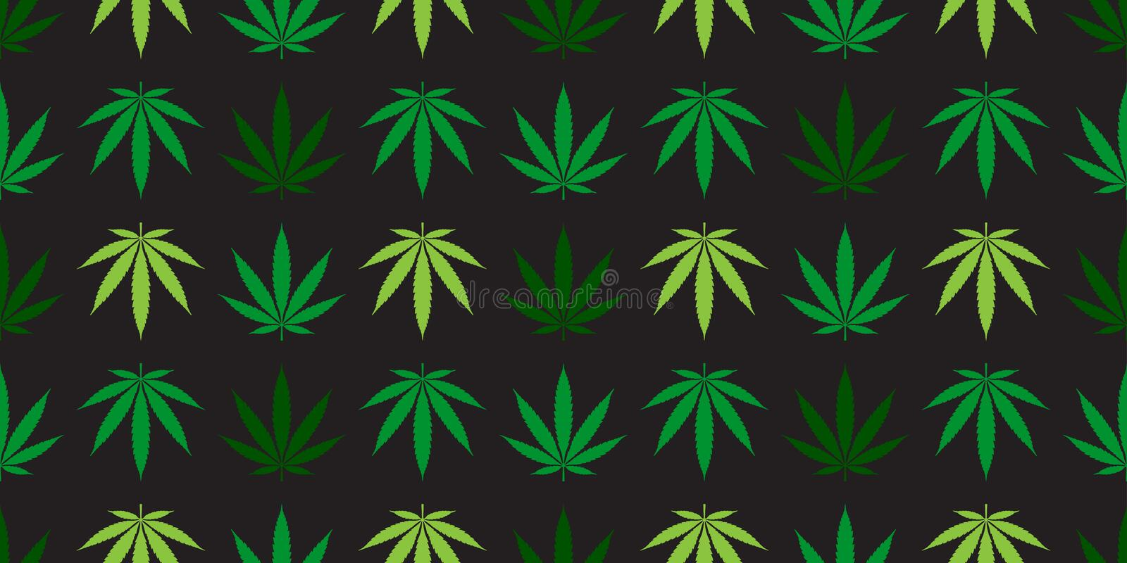 Marijuana seamless pattern vector Weed cannabis leaf scarf isolated tile background repeat wallpaper green. Marijuana seamless pattern vector Weed cannabis leaf royalty free illustration