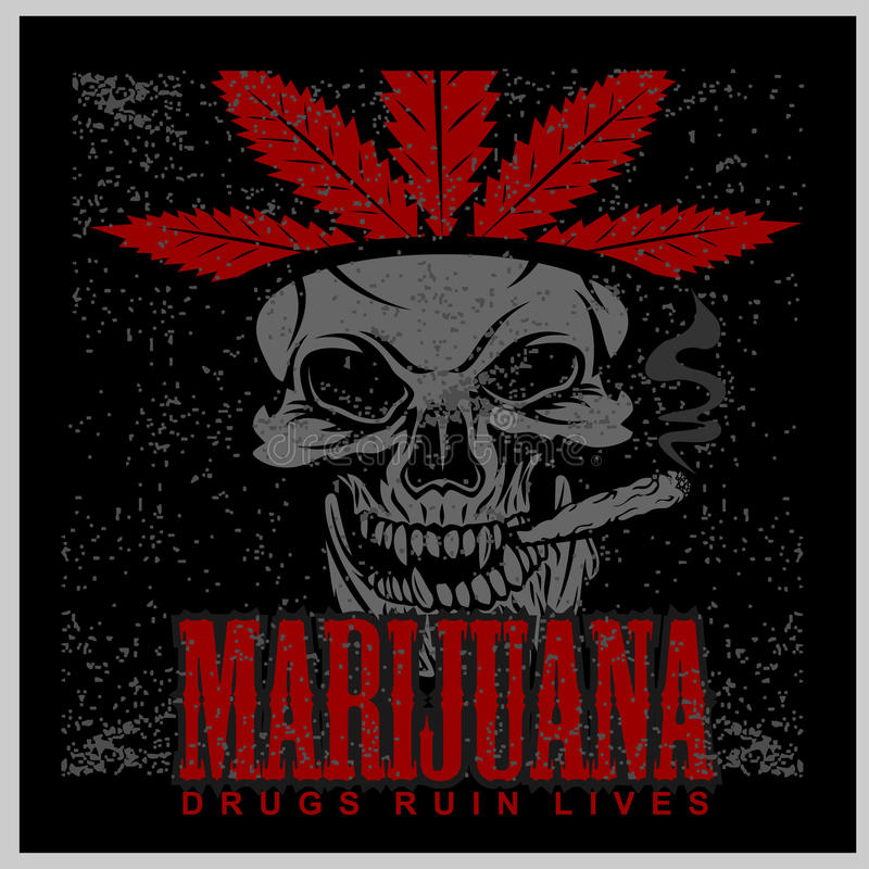 Marijuana Skull on grunge background. Vector for prints and tshirts stock illustration