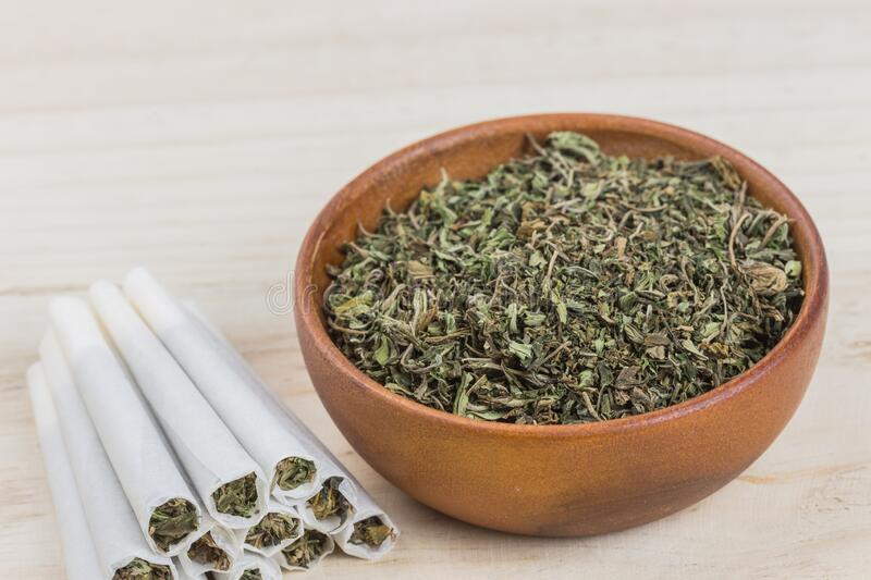 Marijuana or weed or cannabis on wooden bowl and in the rolled joint. Close up shot of marijuana or weed or cannabis on wooden bowl and in the rolled joint stock photo