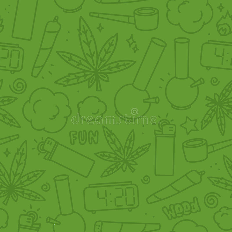 Marijuana weed cartoon seamless vector pattern green vector illustration