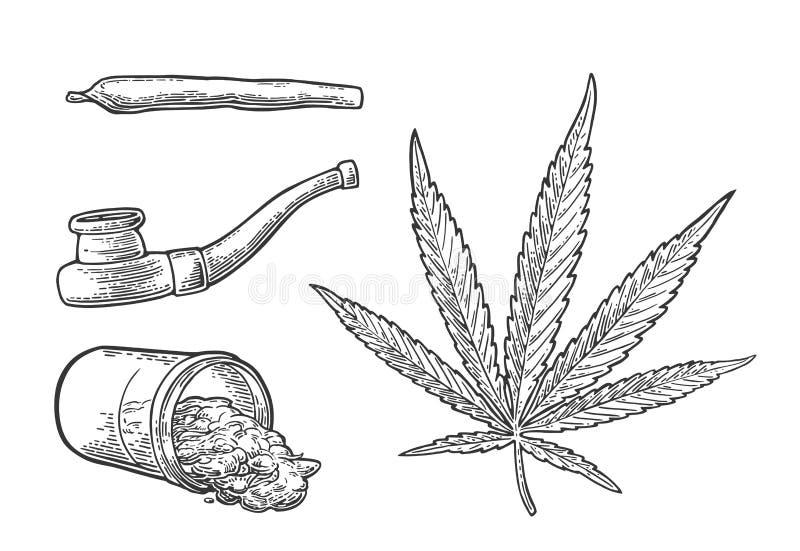 Marijuanablad, flaska, cigaretter och rör för att röka stock illustrationer