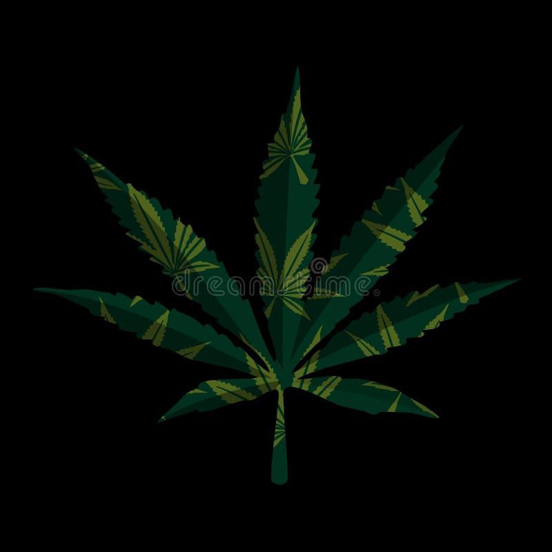 Marijuanablad på svart royaltyfri illustrationer