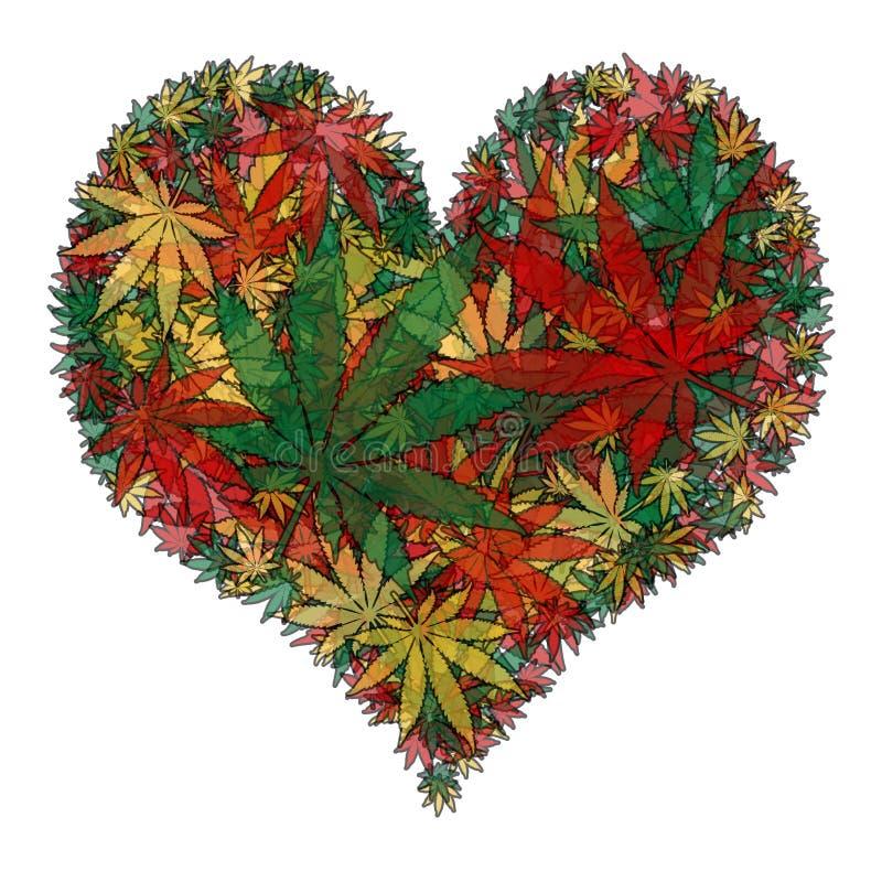 Marijuanahjärta stock illustrationer