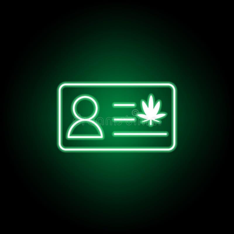MarijuanaID-vagn, emblemöversiktssymbol i neonstil Kan anv?ndas f?r reng?ringsduken, logoen, den mobila appen, UI, UX royaltyfri illustrationer