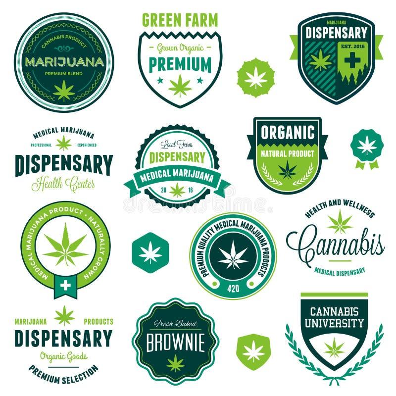 Marijuanaproduktetiketter vektor illustrationer