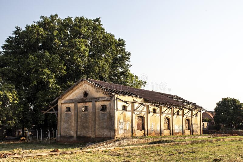 Facade of the old and abandoned Lacio District train station in Marilia municipality. Marilia, Sao Paulo, Brazil, September 14, 2019. Facade of the old and royalty free stock image
