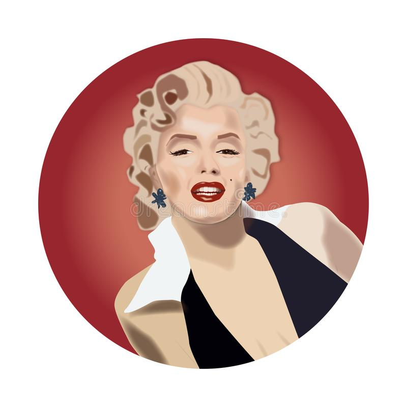 Marilyn Monroe beautiful actress. Celebrity beauty symbol classic lady with red lipstick blond hair royalty free illustration