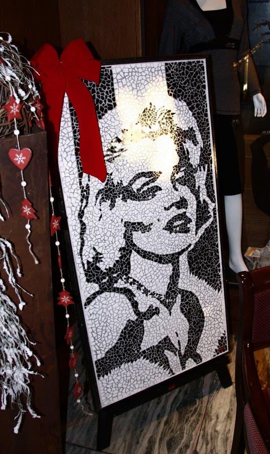 Marilyn Monroe. CIRCA JANUARY 2009 - BERLIN: a mosaic showing Marilyn Monroe, Berlin royalty free stock photo