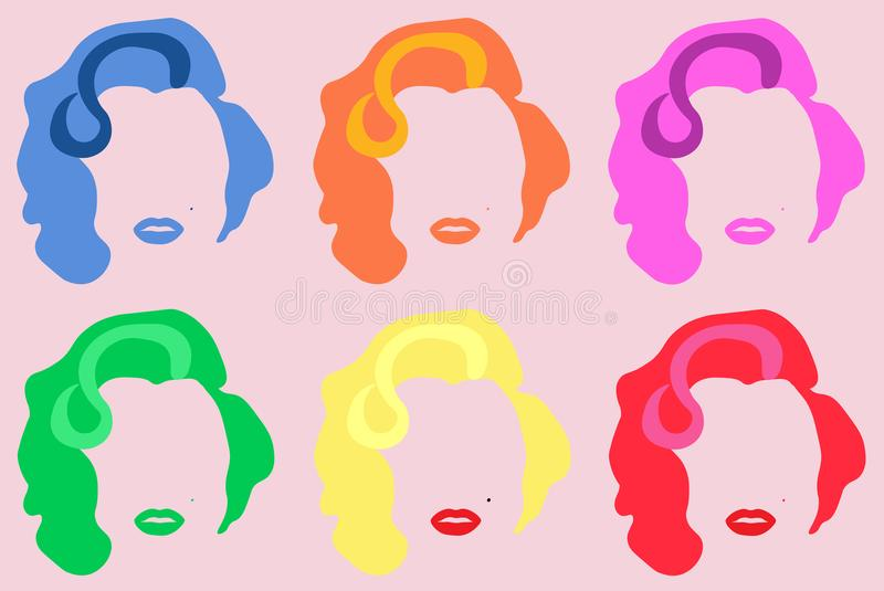 Marilyn Monroe Colored Vector Illustration Pop Art Style Andy Warhol royalty-vrije illustratie