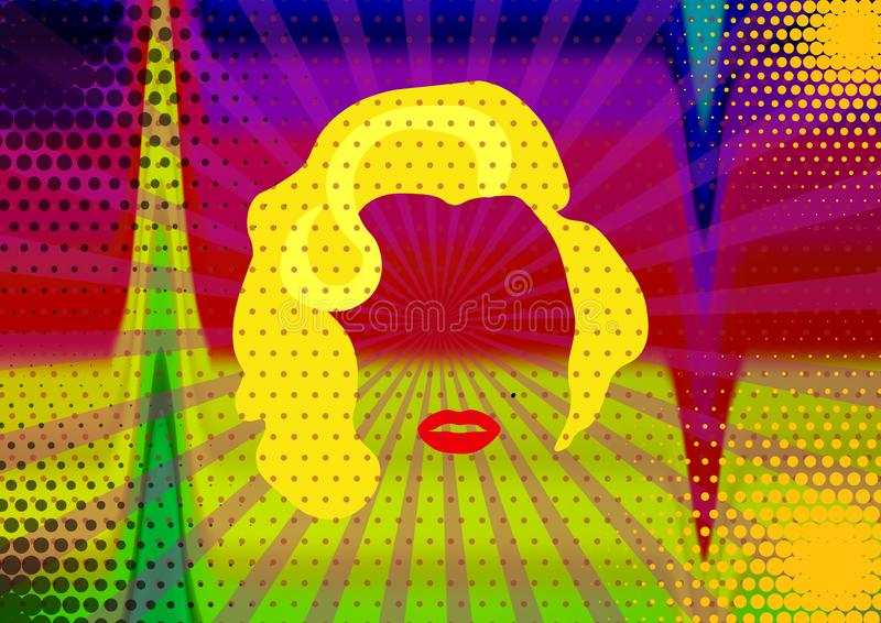 Marilyn Monroe Colored Vector Illustration Pop Art Style Andy Warhol royalty free illustration