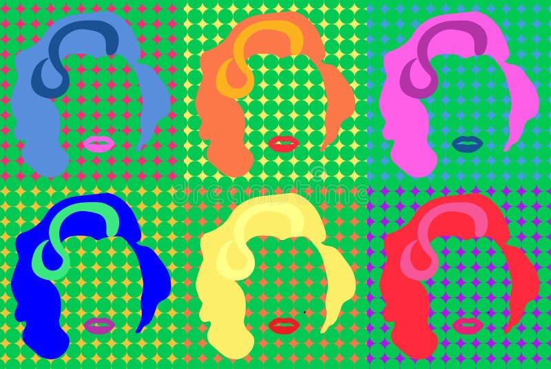 Marilyn Monroe Colored Vetora Illustration Pop Art Style Andy Warhol ilustração stock