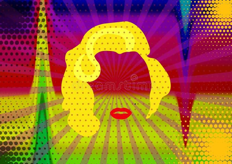 Marilyn Monroe Colored Vetora Illustration Pop Art Style Andy Warhol ilustração royalty free