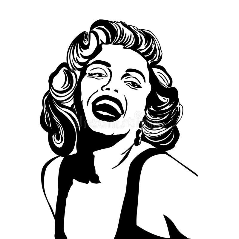 Marilyn Monroe.Vector portrait of Marilyn Monroe isolated on white background. Marilyn Monroe drawing isolated on white background vector illustration