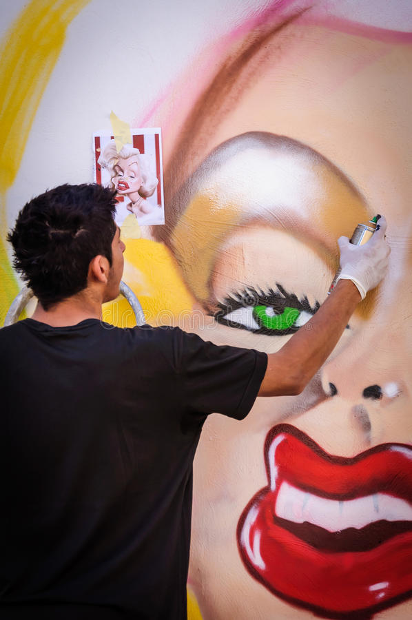 Marilyn Monroe. Graffiti on wall in Limassol street , CYPRUS . Unidentified artist draws a portrait of stock photos