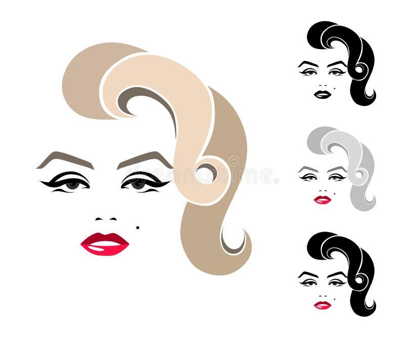 Marilyn Monroe. graphic portrait, logo, sign, icon, emblem, symbol. stock illustration