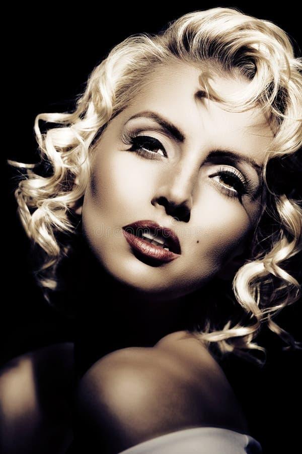 Marilyn Monroe imitation. Retro style. Portrait of Marilyn Monroe imitation. Retro style stock photo