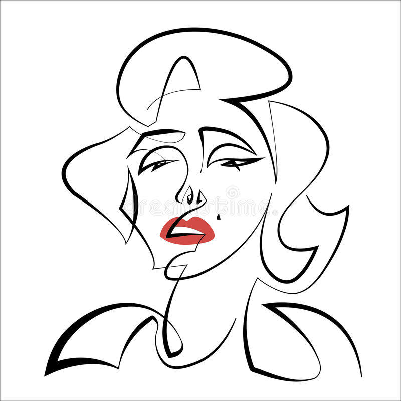 Marilyn Monroe. A linear illustration of a portrait of actress Marilyn Monroe on a white background royalty free illustration