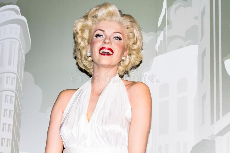 Marilyn Monroe, portrait, Madame Tussaud`s Amsterdam. Marilyn Monroe was an American actress, model, and singer. Famous for playing comic `blonde bombshell` royalty free stock photography