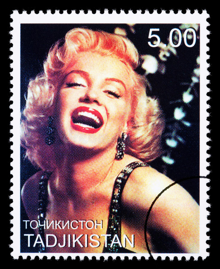 Marilyn Monroe Postage Stamp. TADJIKISTAN - CIRCA 2000: A postage stamp printed in Tadjikistan showing Marilyn Monroe, circa 2000