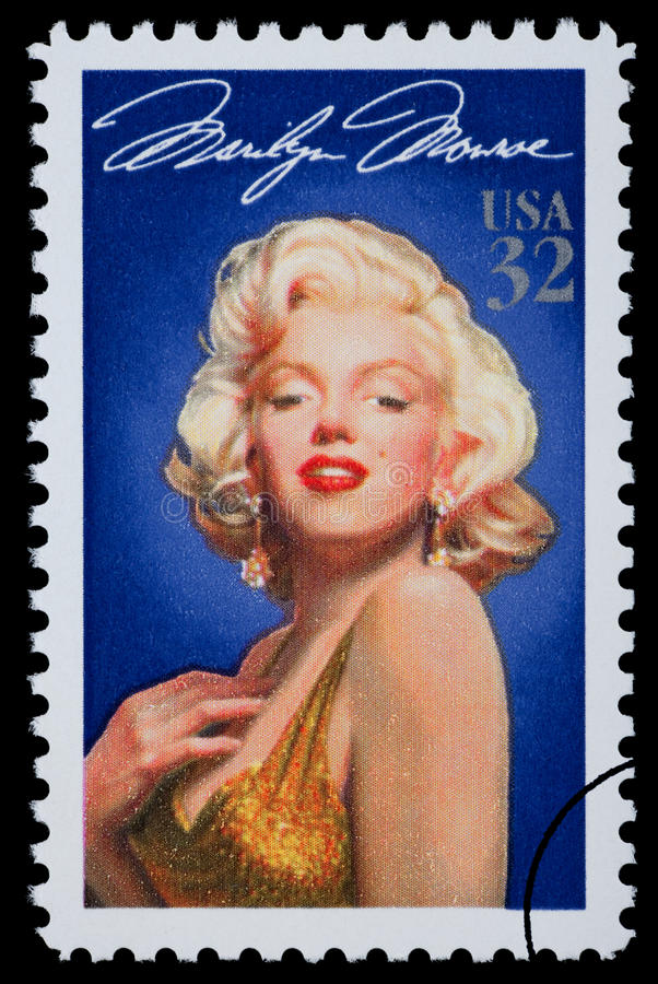 Marilyn Monroe Postage Stamp. UNITED STATES AMERICA - CIRCA 2003: A postage stamp printed in the USA showing Marilyn Monroe, circa 2003