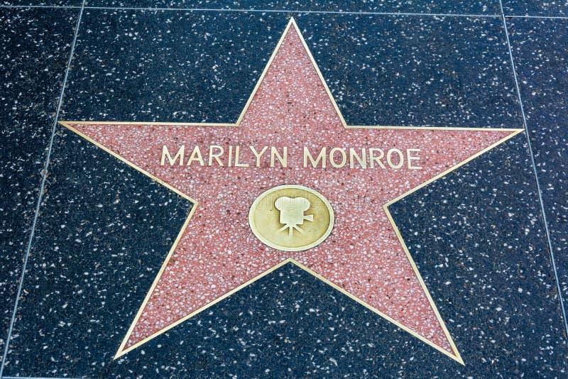 Marilyn Monroe-ster op de Hollywood-Gang van Bekendheid in Los Angeles, CA stock afbeelding