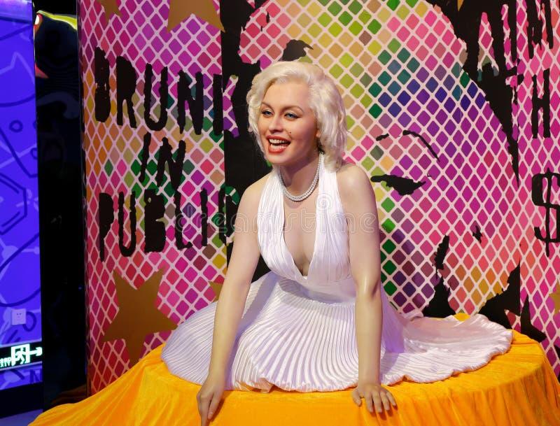 Marilyn Monroe, wasstandbeeld, wascijfer, waxwork stock afbeeldingen
