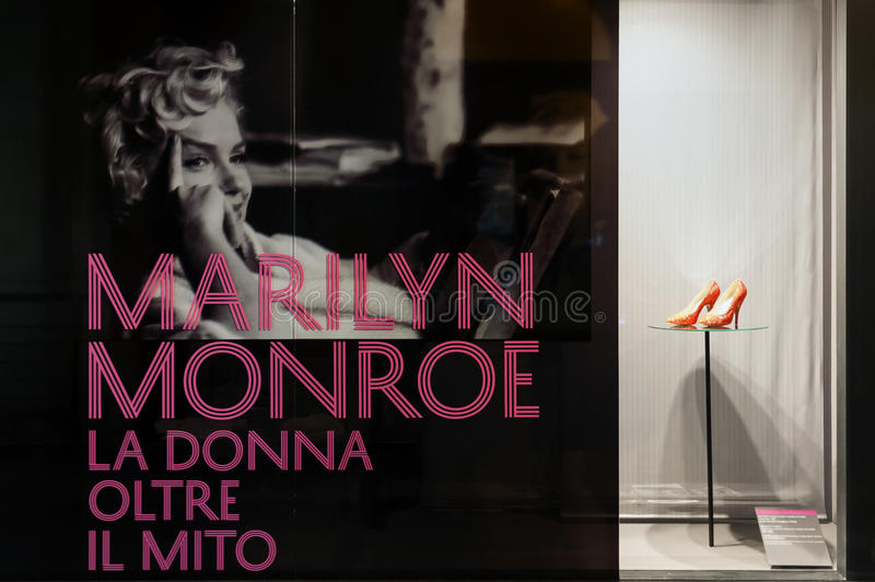 "Marilyn Monroe - The woman behind the myth. The exhibition ""Marilyn Monroe - The woman behind the myth,"" running to September 19 at Palazzo Madama in stock images"