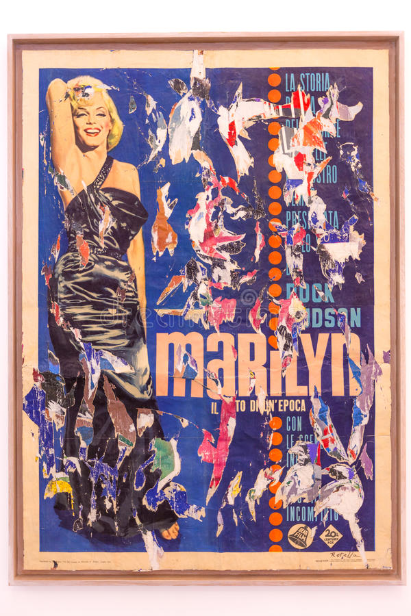 Marilyn - painting by the Italian artist Mimmo Rotella royalty free stock photography