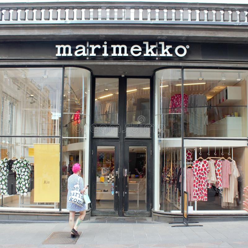 Marimekko Helsinki Finland. Helsinki, Uusimaa/Finland - June 28, 2019: Marimekko store which is a popular shopping destination seen in Finland stock photos